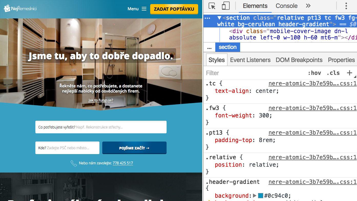 Homepage NejŘemeslníci s Tachyons třídami